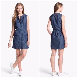 Theory Sebiya Chambray Cotton Blouson Dress Blue S